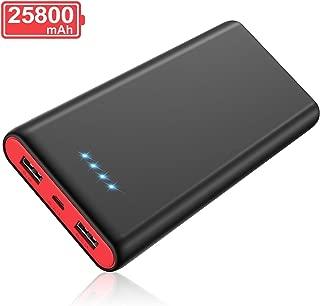 モバイルバッテリー 25800mah 大容量 PSE認証済 急速充電 2USB出力ポート 残量表示 携帯充電器 Android/その他のスマホ/タブレット対応 黒赤