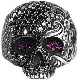 David Yurman Sterling Silver Black Diamond & Ruby Wave Skull Ring - # 24R