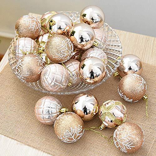 FeiliandaJJ 6CM Eine Schachtel mit 24 Anhänger Christbaumkugeln Dekorationen Kugeln Party Hochzeit Weihnachten Deko Weihnachtskugeln Ornament (Khaki)