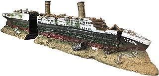 SLOCME Aquarium Titanic Shipwreck Decorations - Resin Material Ship Decorations,Fish Tank Sunken Ship Ornament Aquarium Environment Friendly Decorations