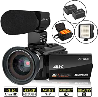 Video Camera 4K Camcorder AiTechny HD Digital WiFi Vlogging Camera 48MP 16X Digital Zoom..