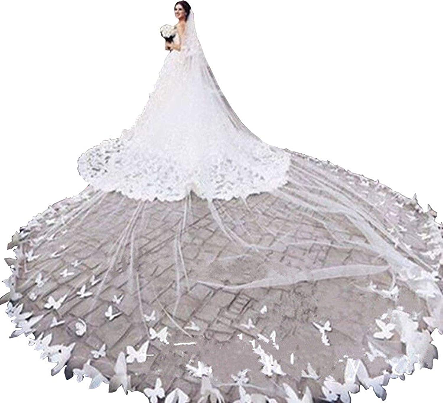 Fenghauvip 2 Tier Cathedral Wedding Veils 3D Butterfly Embellish Veils for Bride Free Comb