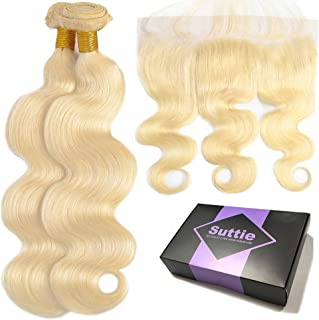 Suttie 613 Platinum Blonde Body Wave Real Hair Bundles Pre Plucked Frontal Lace Human Hair with Baby Hair 6J121412C