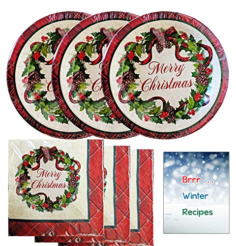 Farmhouse Rustic Christmas Paper Plates and Napkins Disposable Party Supplies Set Buffalo Plaid Red Tartan with Wreath - Serves 36