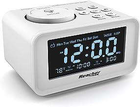 REACHER FM Radiowecker mit USB-Anschlüssen, Dual Alarm mit Wochentag/Wochenend, 6..