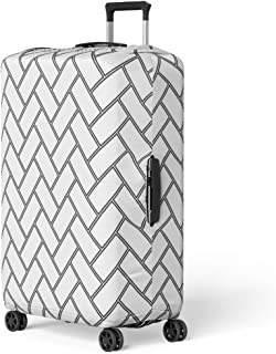 Pinbeam Luggage Cover Herringbone Pattern Rectangles Slabs Tessellation Black Hollow Blocks Travel Suitcase Cover Protector Baggage Case Fits 22-24 inches