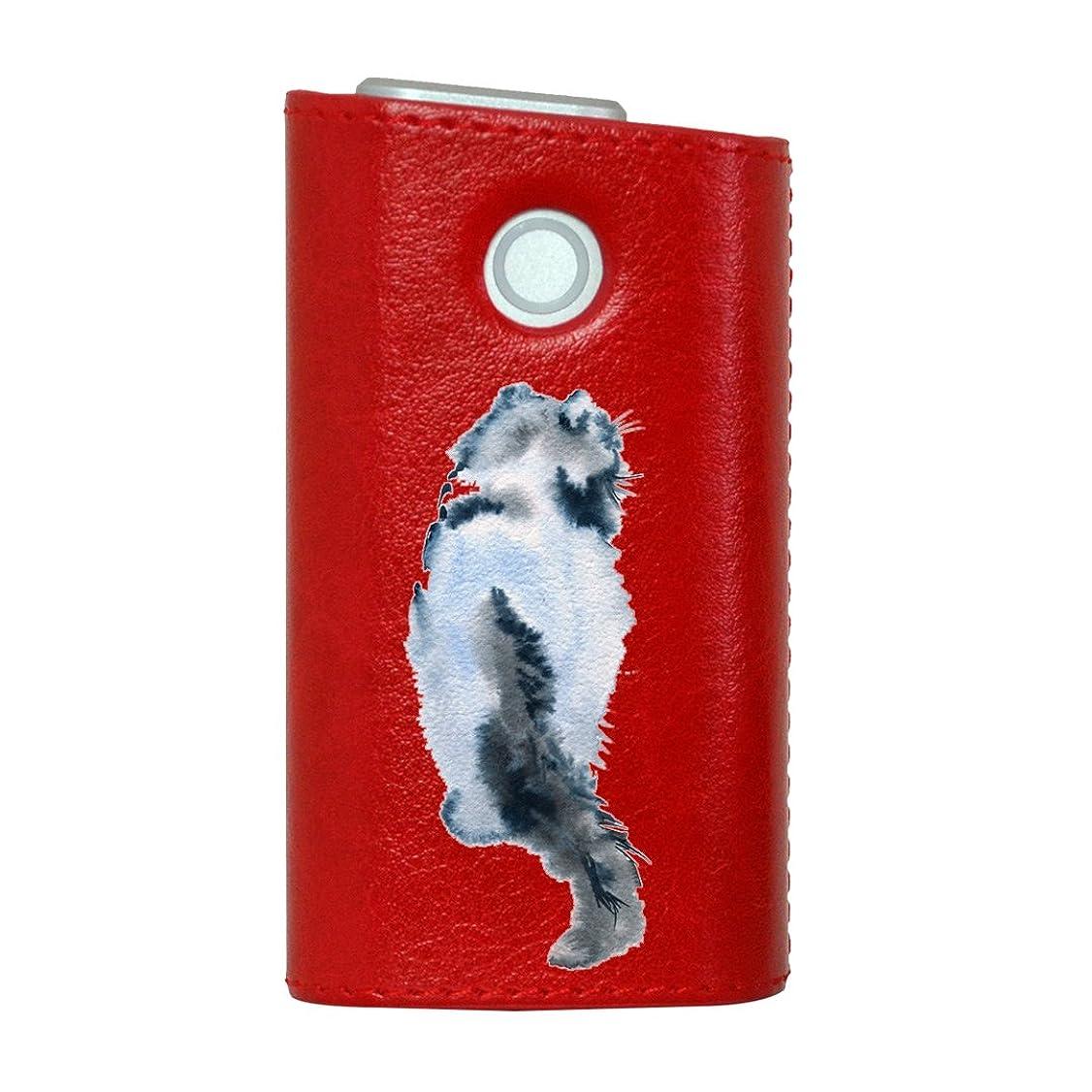 あざ肘掛け椅子詐欺glo グロー グロウ 専用 レザーケース レザーカバー タバコ ケース カバー 合皮 ハードケース カバー 収納 デザイン 革 皮 RED レッド 猫 後ろ姿 動物 014787