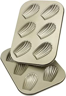AOGVNA 6-Cup Nonstick Madeleine Pan 2 Pack Heavy Tinned Steel Madeleine shell pan(Golden)