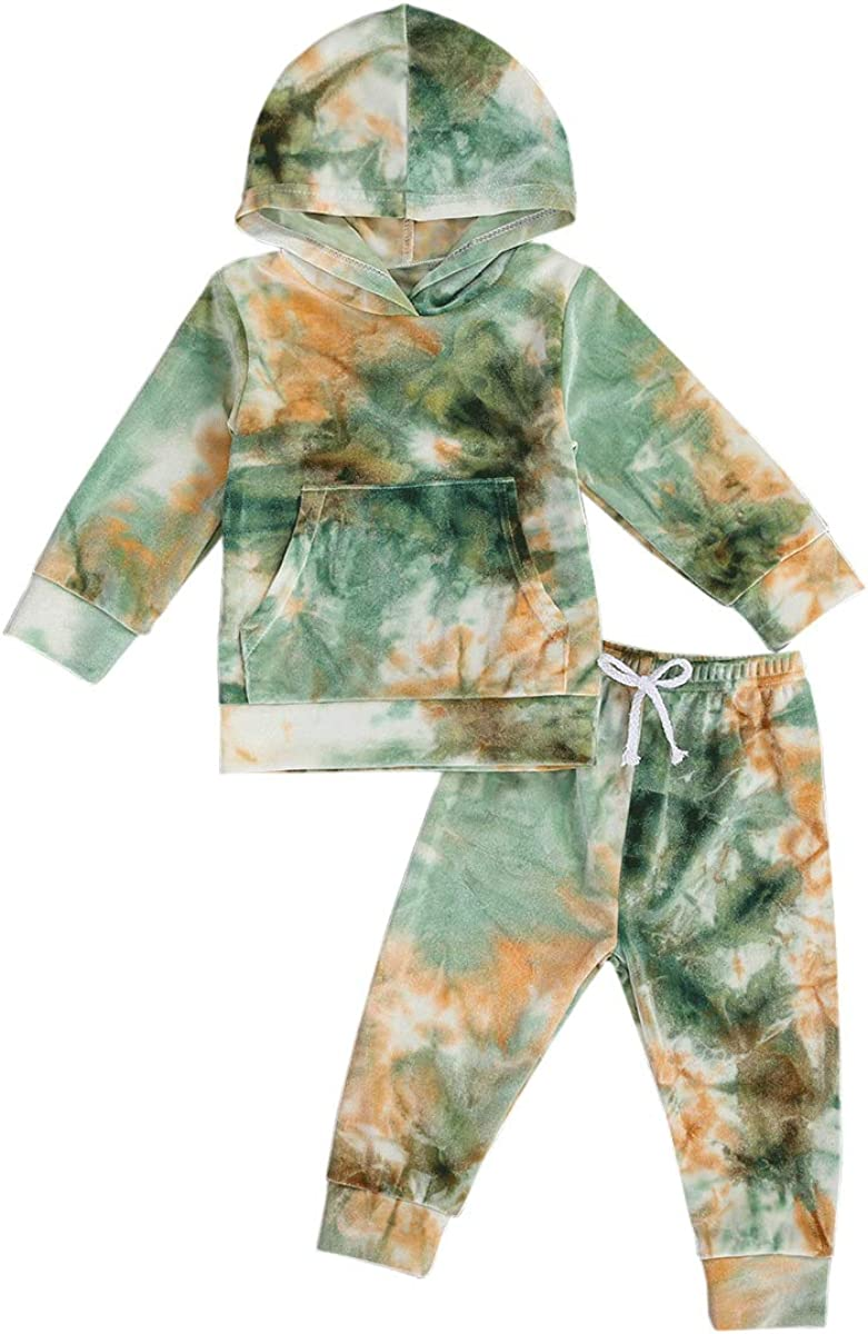 Baby Infant Tie dye Hoodie Pullover Top Kangaroo Pocket + Pants Unisex Toddler Girl Boy 2 Piece Sweatshirt Set