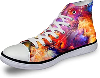 ce16e528b3a Cozeyat Women s Canvas Sneakers Galaxy Printed High Top Lace up Casual Shoes
