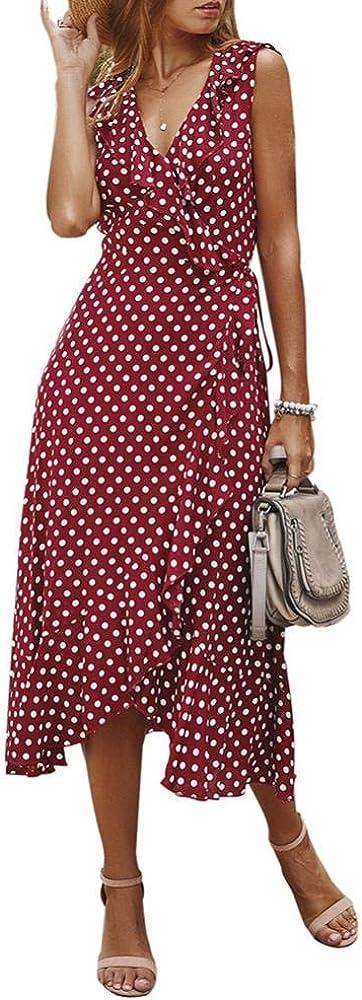 Comeon Women's Summer Polka Dot Dress Sleeveless Ruffled Polka Dot One Piece Slim Dress