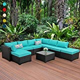 Outdoor Wicker Sofa 9 Pieces Patio Garden Sectional Furniture Set with Turquoise Non-Slip Cushions Furniture Cover Black PE Rattan