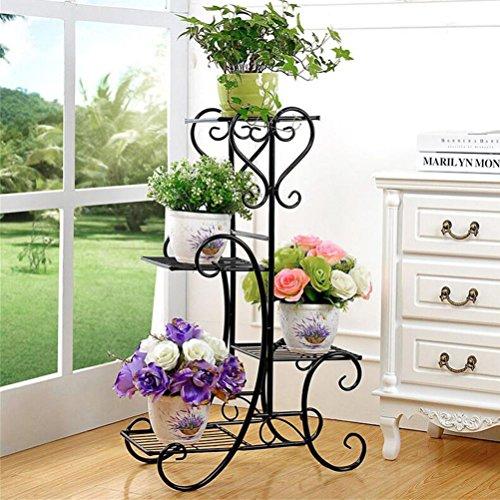 4 Tier Flower Stand Metal Rack Flower Holder Pot Plant Stand, Wrought Iron Garden Home Flower Balcony Shelf Ladder Display Planter Holder