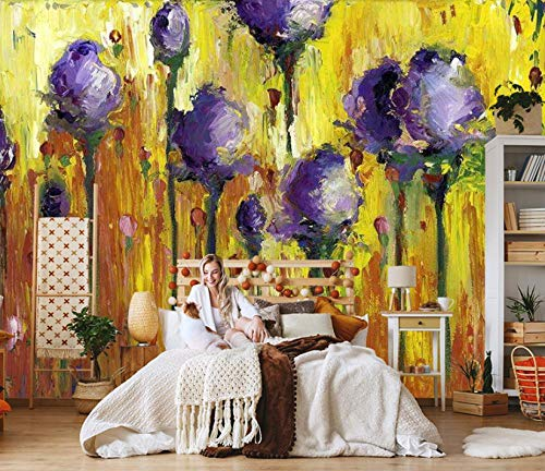 Fotomural Vinilo Pared Flores De Plantas Moradas 200x150cm/79x59in(Wxh) Murales De Pared 3D Sala De Estar Fondo Papel Pintado De No Tejido Fotomurales Decorativos Pared
