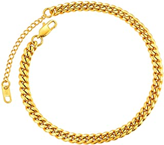 Anklet for Women Gold Chain Anklet Gold Plated Men Teen Girls Summer Jewelry Foot Bracelet