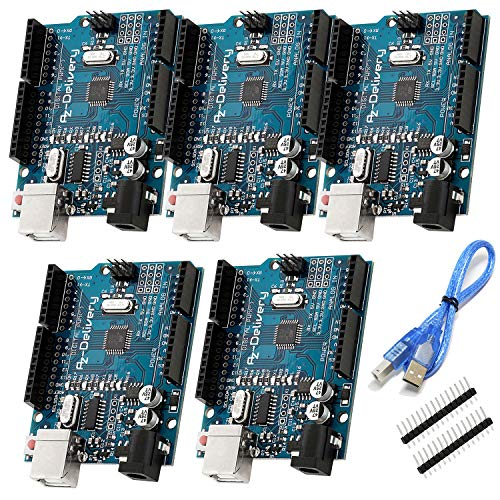 AZDelivery 5 x Microcontrolador ATmega328P Tarjeta Placa de desarrollo con Cable USB con E-Book incluido!