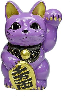 Tokoname Ware Lucky Cat 6.3'' Lavender Maneki Neko Left Hand
