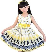 jkbfyt Baby Kids Girl Dress Princess Party Bow Belt Bubble Peacock Dress Fashion Girl Dress Wedding Flower Girl