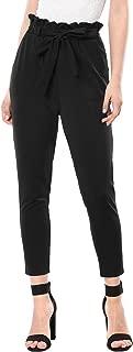 Women's Tie Waist Pants Elastic Ruffle Waist Cropped Paper Bag Pants with Belt