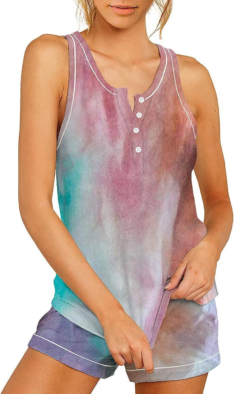 AOHITE Women's Loungewear 2 Piece Pajamas Sleeveless Casual Tank Tops with Shorts Sleepwear Pj Set