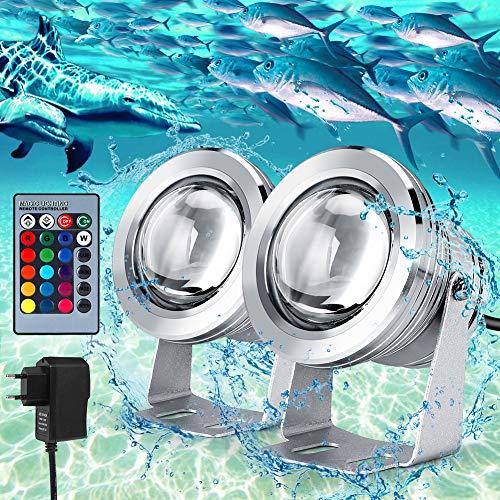 LED Scheinwerfer LED Flutlicht Fluter Strahler Licht IP68 Wasserdicht Unterwasserlicht RGB mit Fernbedienung und EU Adapter, 2er Pack