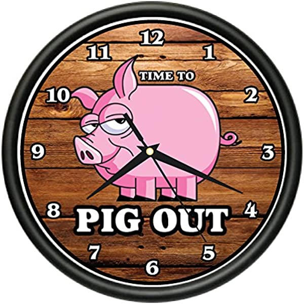 SignMission BBQ TIME To Pig Out Wall Clock Restaurant Pork Ribs Barbecue Business Gift Beagle
