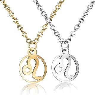 Geometric Round 12 Constellation Symbol Necklace Gold Silver Titanium Steel Zodiac Pendant Jewelry 2 Pcs Set for Women Gift