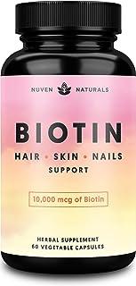 Hair Vitamins - Biotin 10000 mcg for Hair Growth, Hair Skin and Nails Vitamins + Adaptogens, Hair Growth Vitamins, Hair Vi...