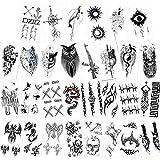 Konsait Tatuajes temporales para adultos hombre Mujer Niños (30 hojas), Fake Tatuajes Adhesivos Tatuajes de cuerpo temporales brazo cuello impermeable, Dragón Ancla Cráneo Lobo Etc