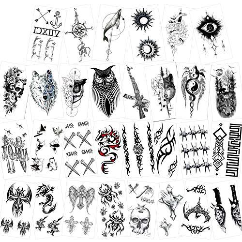 Konsait temporär Tätowierung schwarz Tattoo Körperkunst Kleine Bögen Tattoo Aufkleber Fake Arm Tattoos Sticker für männer, Frauen, 30 Blätter, Dagon schädel Wolf etc