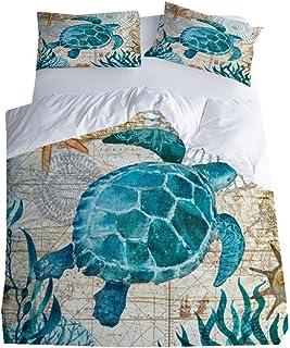 Sticker superb Oceano Azul Tortuga Juego de Funda Nórdica con Cremallera, Chica Chico Hombre Mujer Suave Ropa de Cama Otoño Invierno (220x240cm para Cama de 150cm)