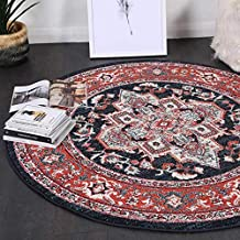 Home Culture Soft Symphony Navy Nobel Vintage Round Rug-Durable Indoor Carpets for Bedroom, Living Room, High Traffic Area...