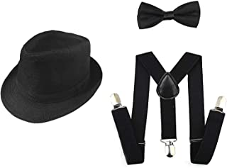 1920s Set Fedora Gangster Hat Costume Accessory Y-Back Suspenders & Pre Tied Bow Tie,Men's Roaring 1920s Set Manhattan Fed...