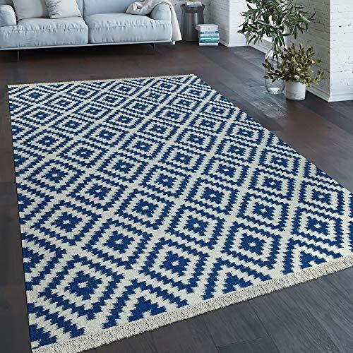 Vloerkleed Modern Marokkaans Patroon Handgeweven Scandinavisch Ruiten Franje Blauw Wit, Maat:120x170 cm
