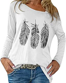 Autumn Women's Loose Fashion Large Recreational Printed Long Sleeve T-Shirt Round Neck Casual Daily Comfortable Tops