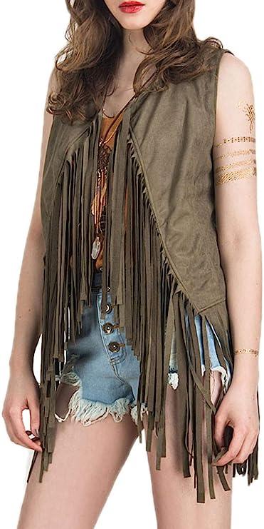 1970s Shirts, Tops, Blouses, T-Shirt Styles   History PERSUNWomensFringeVestFauxSuedeOpenFrontSleevelessVestCardigan 70S Hippie Clothes  AT vintagedancer.com