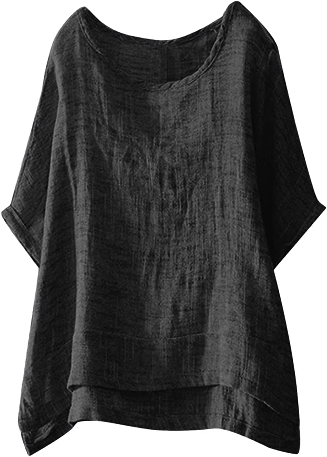 Womens 3/4 Sleeve Linen Shirts Round Neck Solid Color Summer Tops Casual Loose Fit Daily Blouses