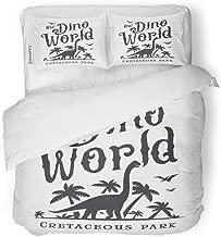 SanChic Duvet Cover Set Dino World Dinosaur Park Logotype Diplodoc Design Jurassic Period Retro Lost Insignia Adventure Badge Decorative Bedding Set with 2 Pillow Shams Full/Queen Size
