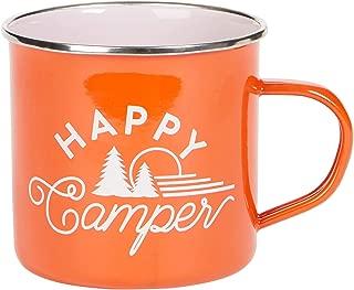 C.R. Gibson Orange ''Happy Camper'' Enamel Coffee Mug, 16 fl. Oz.