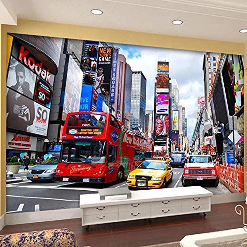 3D Fotomurales No Tejido Mural Autobús Rojo Salón Dormitorio Despacho Pasillo Decoración Murales Decoración De Paredes Moderna 200X150cm