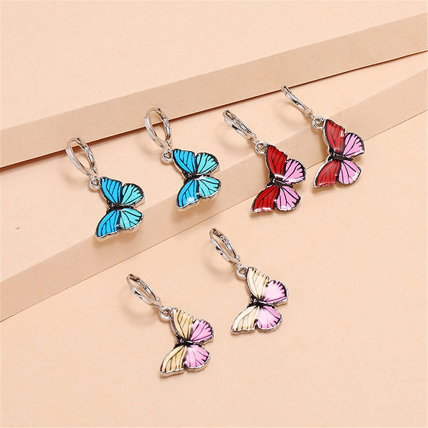 ONLYJUMP 2 Sets Butterfly Choker Necklace Earrings for Women Ladies Girls Colorful Charm Cute Elegant Unique Handmade Drop Dangle Earrings Jewelry Christmas