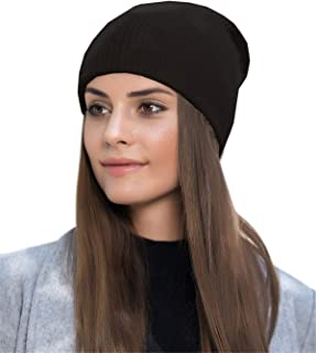 Men Women Slouchy Beanie Hat - Black Wool Acrylic Blend Knit Watch Hat, Stocking Skull Cap Skullcap for Guys, CC Cable Winter Ideal Fashion Accessories