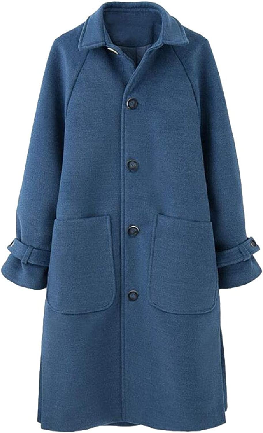 Maweisong Women's Lapel Single Breasted Length LongSleeved Classic Wool Trench