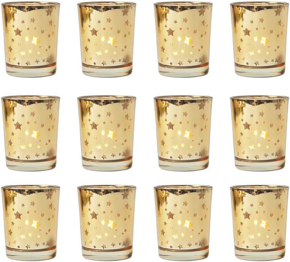 OSALADI Ranking Ranking TOP7 TOP4 12pcs Gold Mercury Votive Candle Holders G Speckled Star