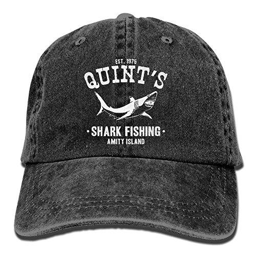 Adult Cotton Jeans Cap Old- Adjustable Hat Quints Shark Fishing Jaws 7 Colors Available Black
