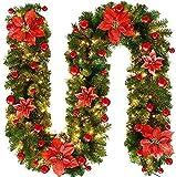 HAOJON Decoraciones para árboles de Navidad Decoraciones navideñas Guirnaldas Decoración Luces de ratán Repisa de Corona Chimenea Escaleras Puerta de Pared Guirnalda de luz LED Árbol de Navidad