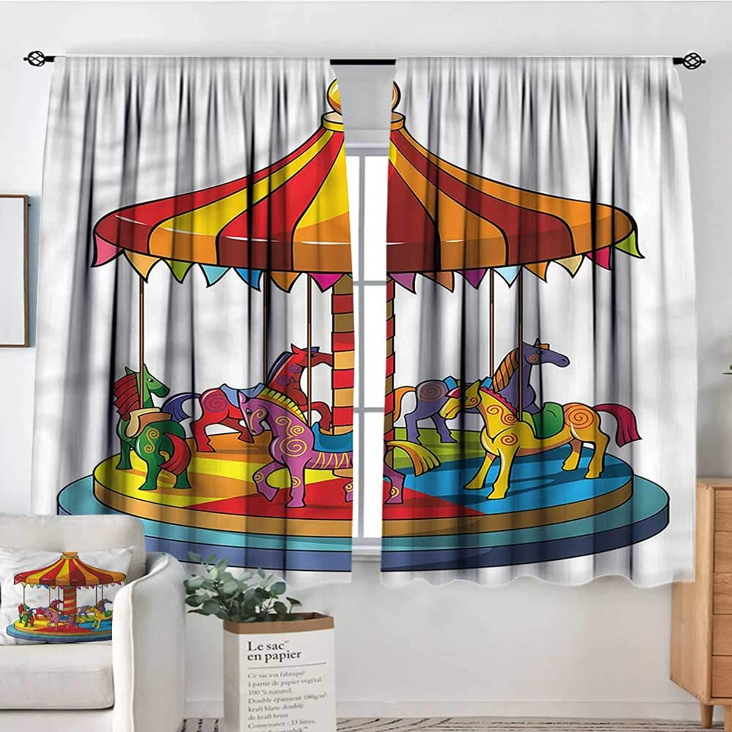 Sanring Kids,Backout Curtain Cartoon Carousel Horses Design 52 x63  Patterned Drape for Kids Bedroom