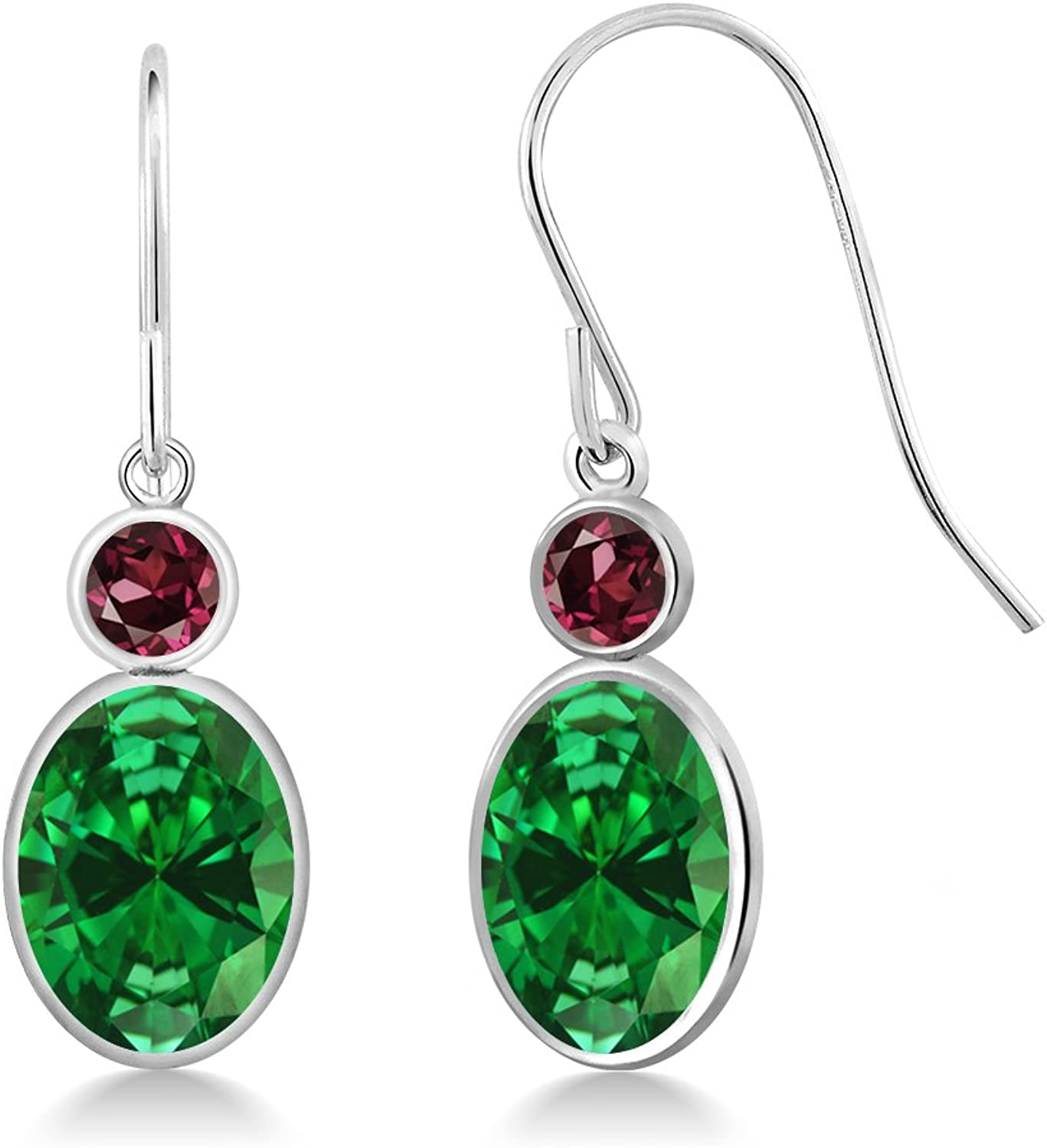 4.44 Ct Oval Green Simulated Emerald Red Rhodolite Garnet 14K White gold Earrings