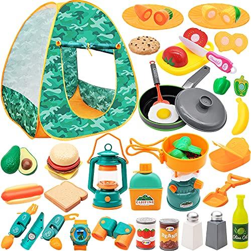 JOYIN Juego de 41 piezas para acampar para niños, juguetes al aire libre, incluye tienda de campaña pop-up duradera, juego divertido para cortar alimentos e imaginativo juego de cocina, juguetes de camping, casa de juegos, el mejor regalo de cumpleaños para niños