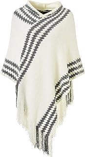 Ferand Chic Capa Poncho para mujer con capucha de punto con rayas en zigzag y flecos